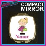 BLONDE HAIR GIRLS PERSONALISED NAME COMPACT LADIES METAL HANDBAG GIFT MIRROR - 150927206086